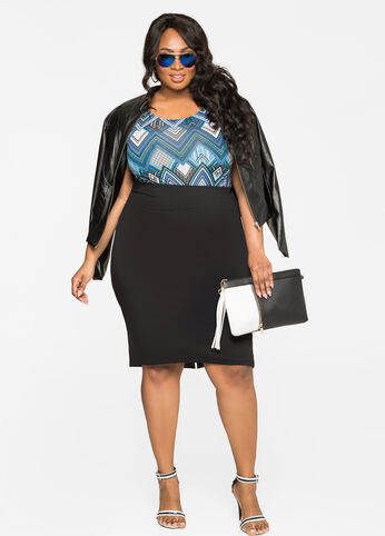 Solid Slit Back Pencil Skirt Black - Bottoms
