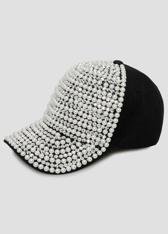 Pearl Rhinestone Baseball Cap