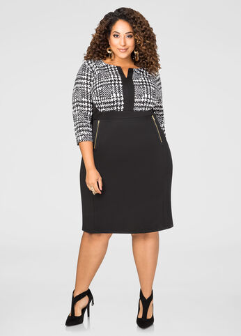 Abstract Houndstooth Sheath Dress