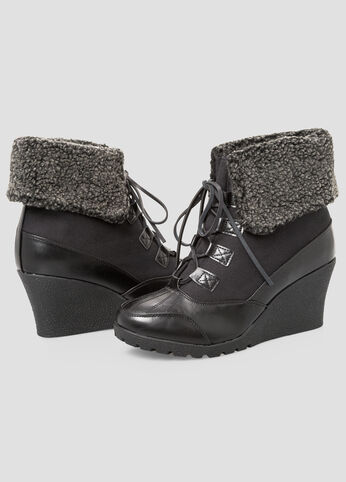 Wedge Hiking Bootie - Wide Width Black - Shoes