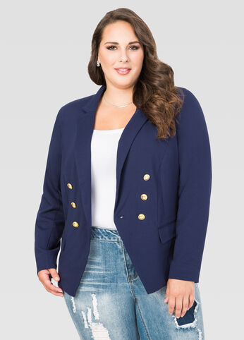 Gold Button Double Breasted Blazer