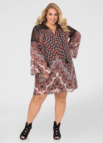 Crochet Yoke Printed Floater Dress