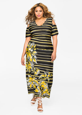 Floral Stripe Cold Shoulder Maxi Dress