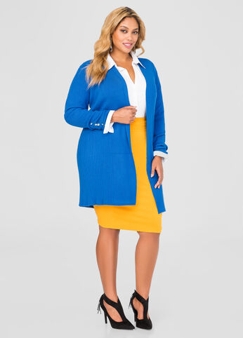 Long Ribbed Button Cuff Cardigan