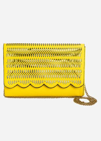 Laser Cut Shoulder Bag Yellow - Accessories