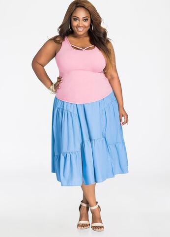 Solid Cotton Ruffle Skirt