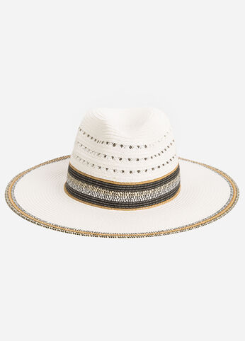 Panama Hat with Banded Stripes