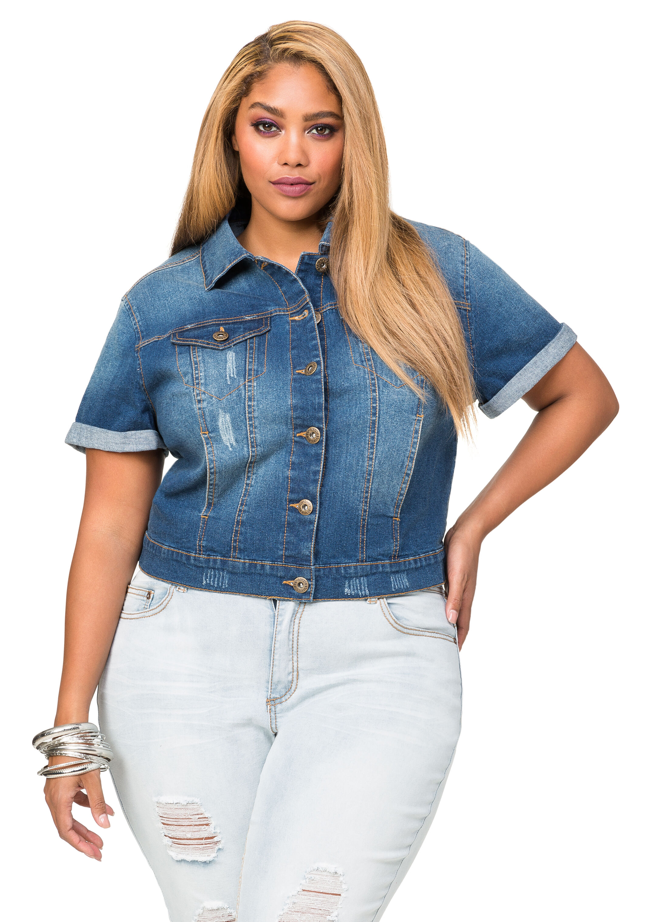 Short Sleeve Jean Jacket-Plus Size Denim-Ashley Stewart-034-7770X