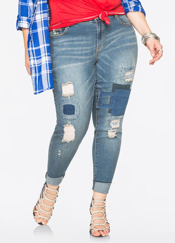 Patch N Repair Skinny Jean