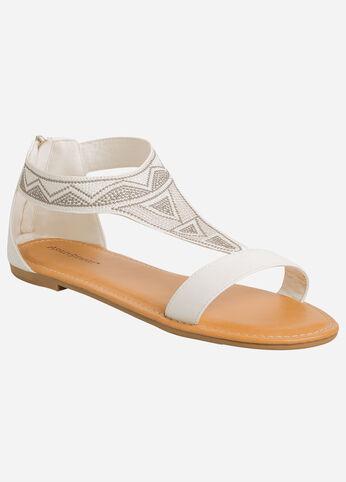 Geo Tribal Print Zip Back Sandal