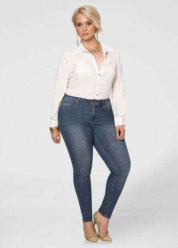Medium Wash Five Pocket Skinny Jean