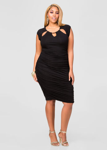 Ruched Triple Keyhole Dress