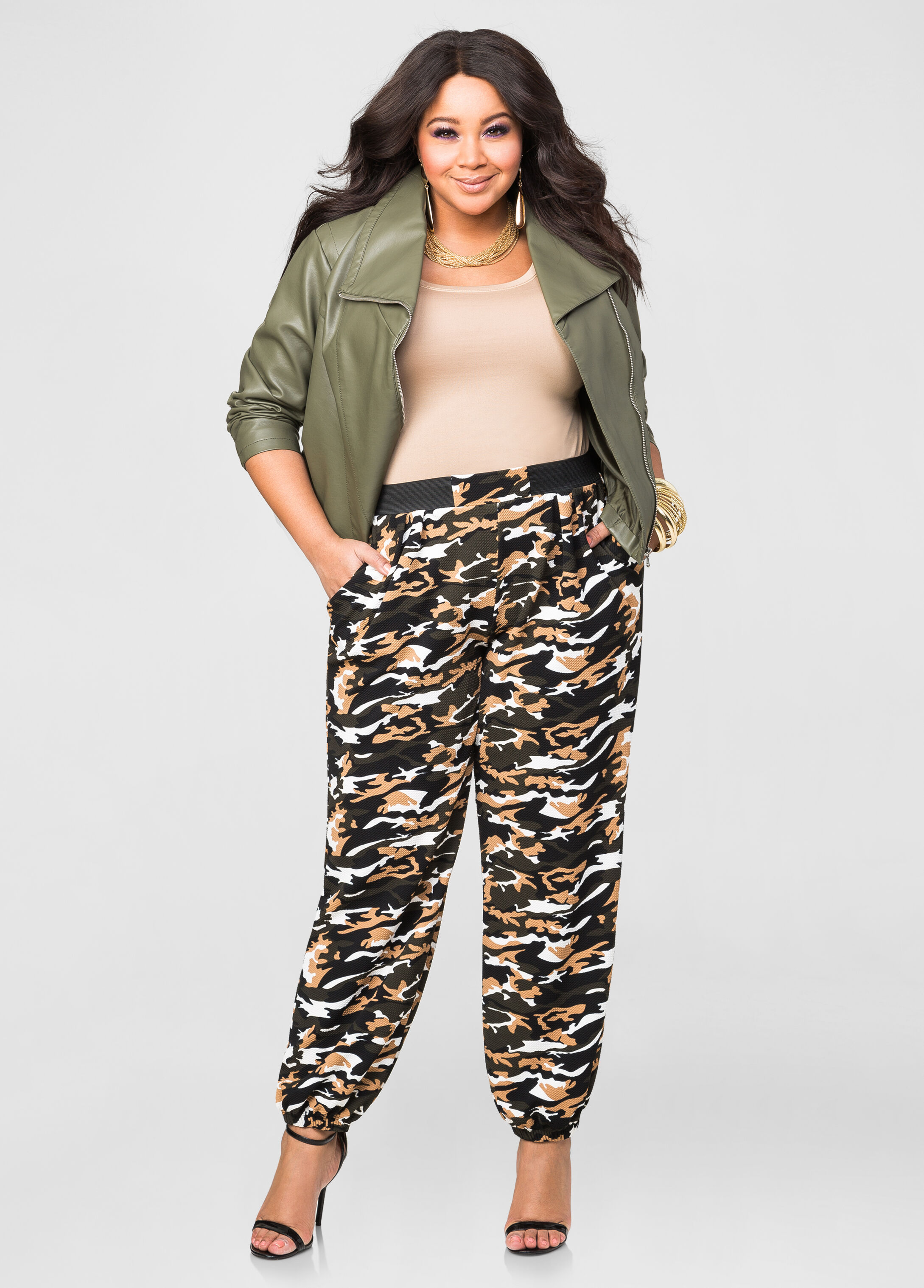 Textured Camo Jogger Pant-Plus Size Pants-Ashley Stewart