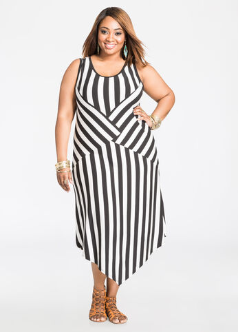 Striped Pointed Hem Dress Black White - Dresses