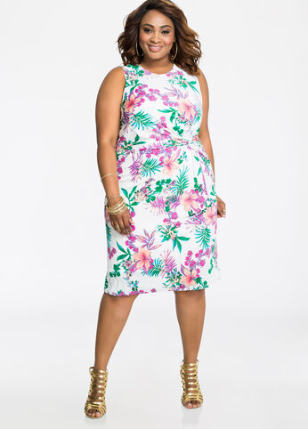 Tropical Print Knot Waist Dress