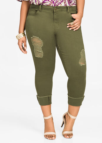 Cuffed Fray Cropped Skinny Pants Olive - Jeans