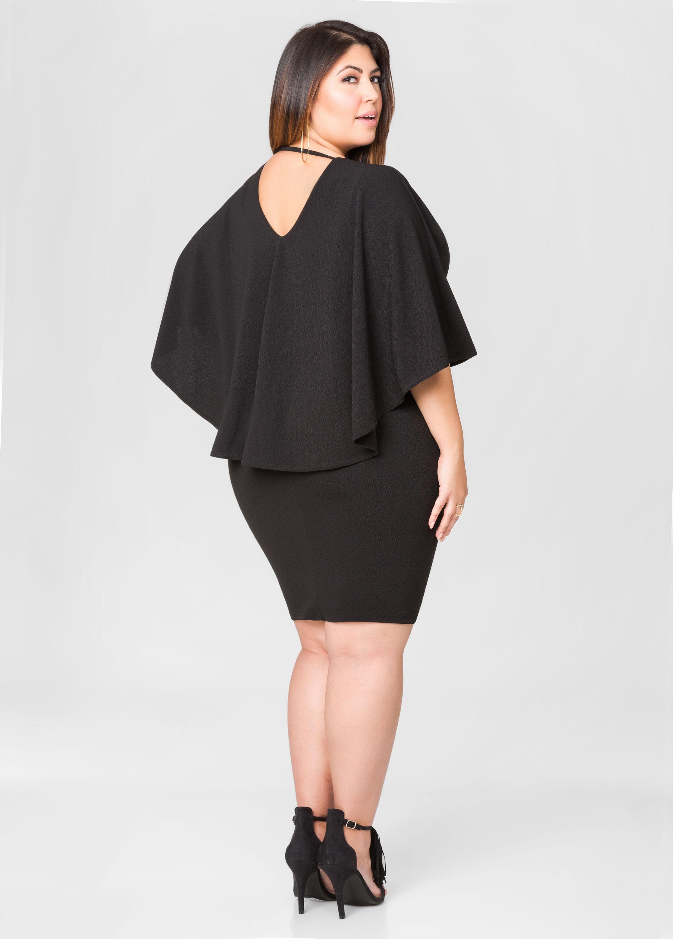 Textured Cape Dress-Plus Size Bodycon Dresses-Ashley Stewart