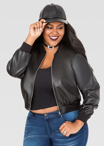Cropped Faux Leather Bomber Jacket