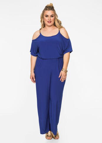 Cold Shoulder Jumpsuit with Chain Detail Victoria Blue - Dresses