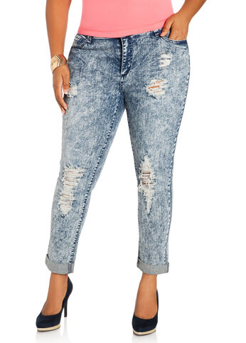 Destructed Cuffed Acid Wash Jeans