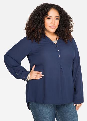 Split Back Tunic Blouse Peacoat - Shirts