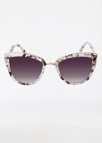 Marble Design Frame Cat Eye Sunglasses Black White - Accessories