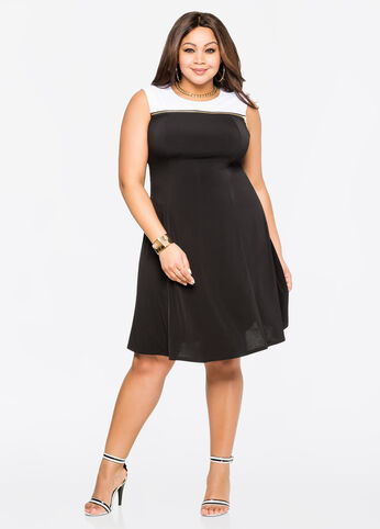 Exposed Zip A-Line Dress Black White - Clearance