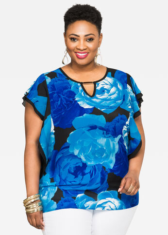 Floral Butterfly Sleeve Blouse Victoria Blue - Tops