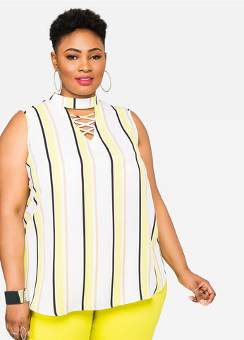 Mock Lace-Up Vertical Stripes Blouse