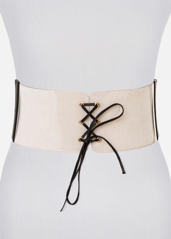 Clear Lace-Up Corset Belt Black - Clearance