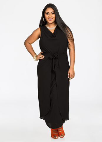 Knot Waist Chiffon Maxi Dress - Black - Dresses