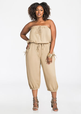 Strapless Cargo Pocket Jumpsuit Cornstalk - Dresses