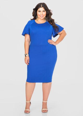 Flutter Sleeve Tailored Dress Olympian Blue - Dresses