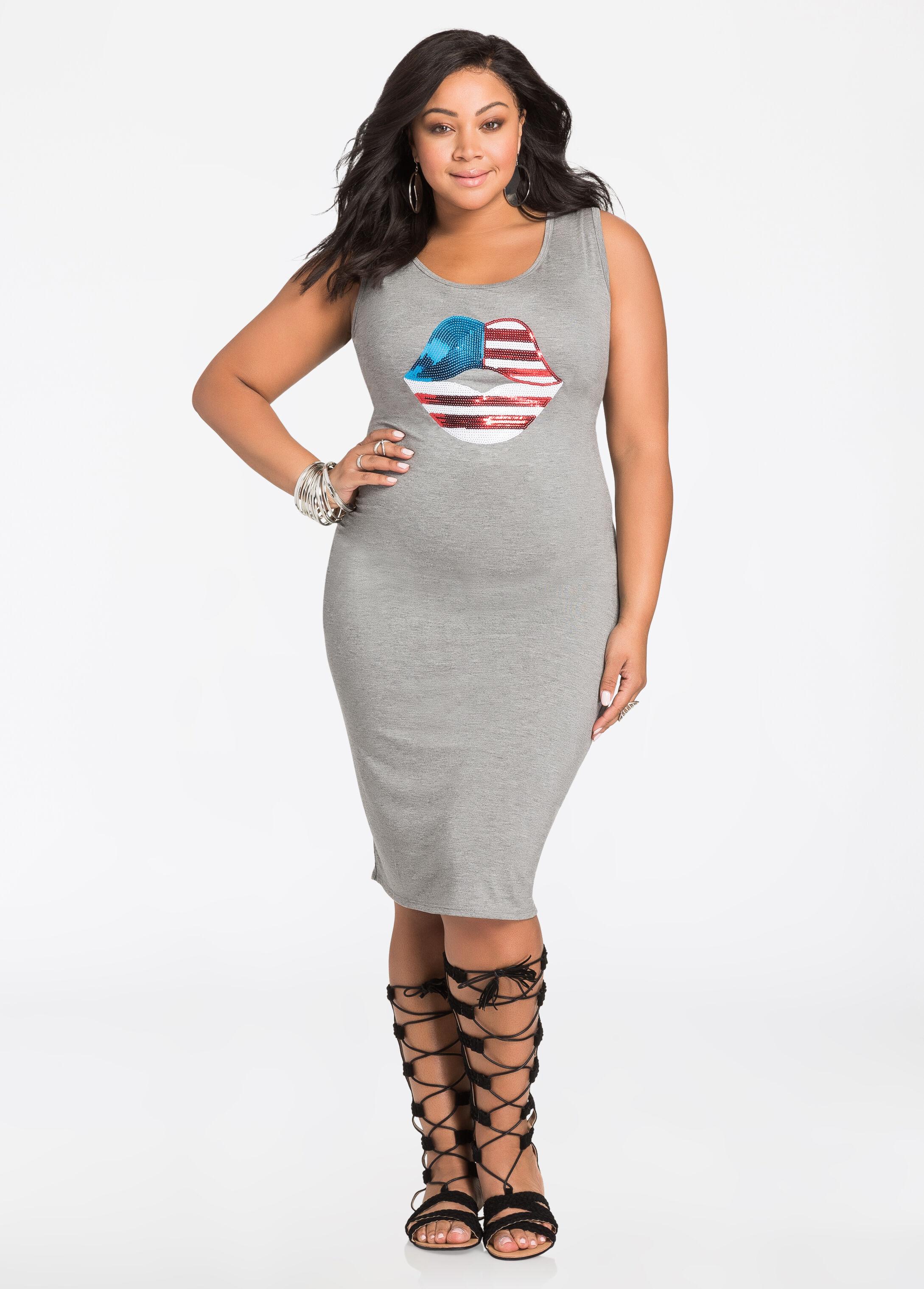 Plus Size Dresses - American Flag Sequin Lips T-Shirt Dress