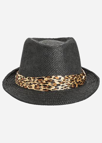 Animal Band Straw Fedora Hat