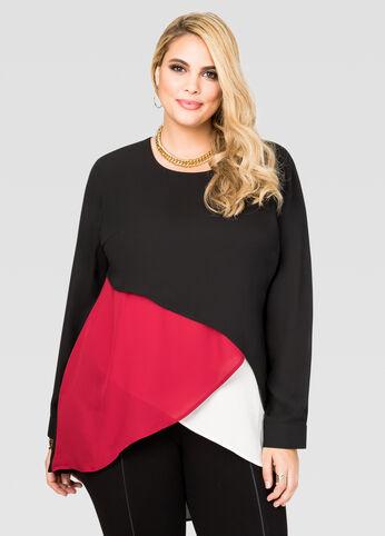 Chiffon Colorblock Layer Tunic