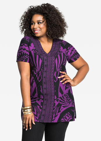 Split Side Geo Print V-Neck Tunic