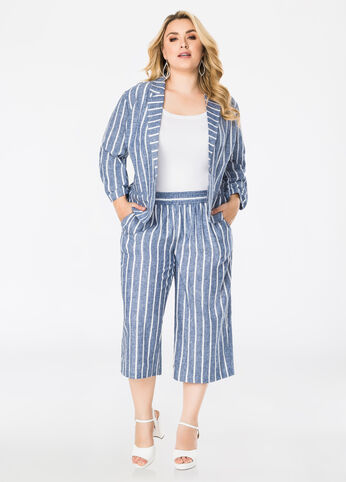 Plus Size Outfits - Suited Up in Stripes