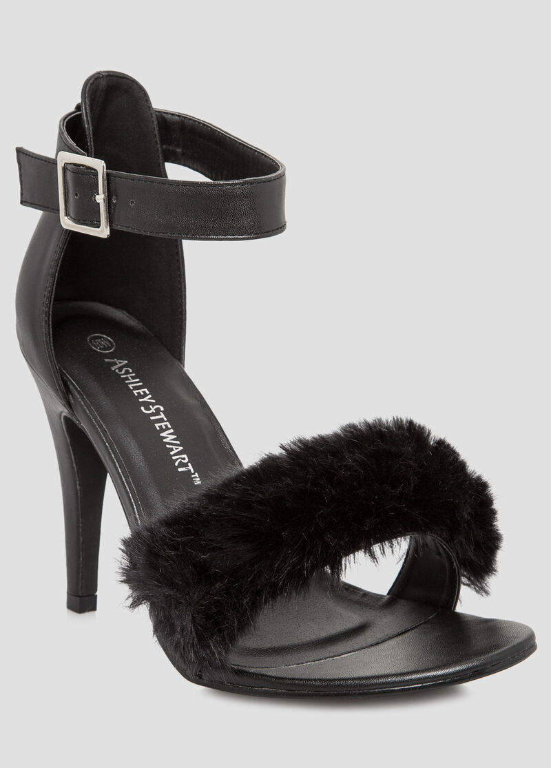 Black dress sandals wide width -  Fur Strap Dress Sandal Wide Width