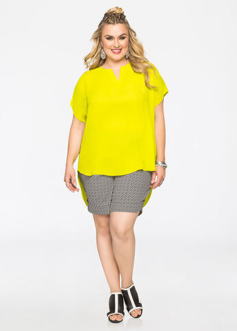 Hi-Lo Blouse with Drop Shoulders Mandalay Lime - Tops