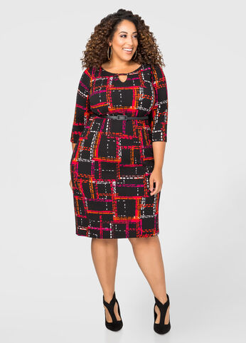Belted Grid Print Sheath Dress