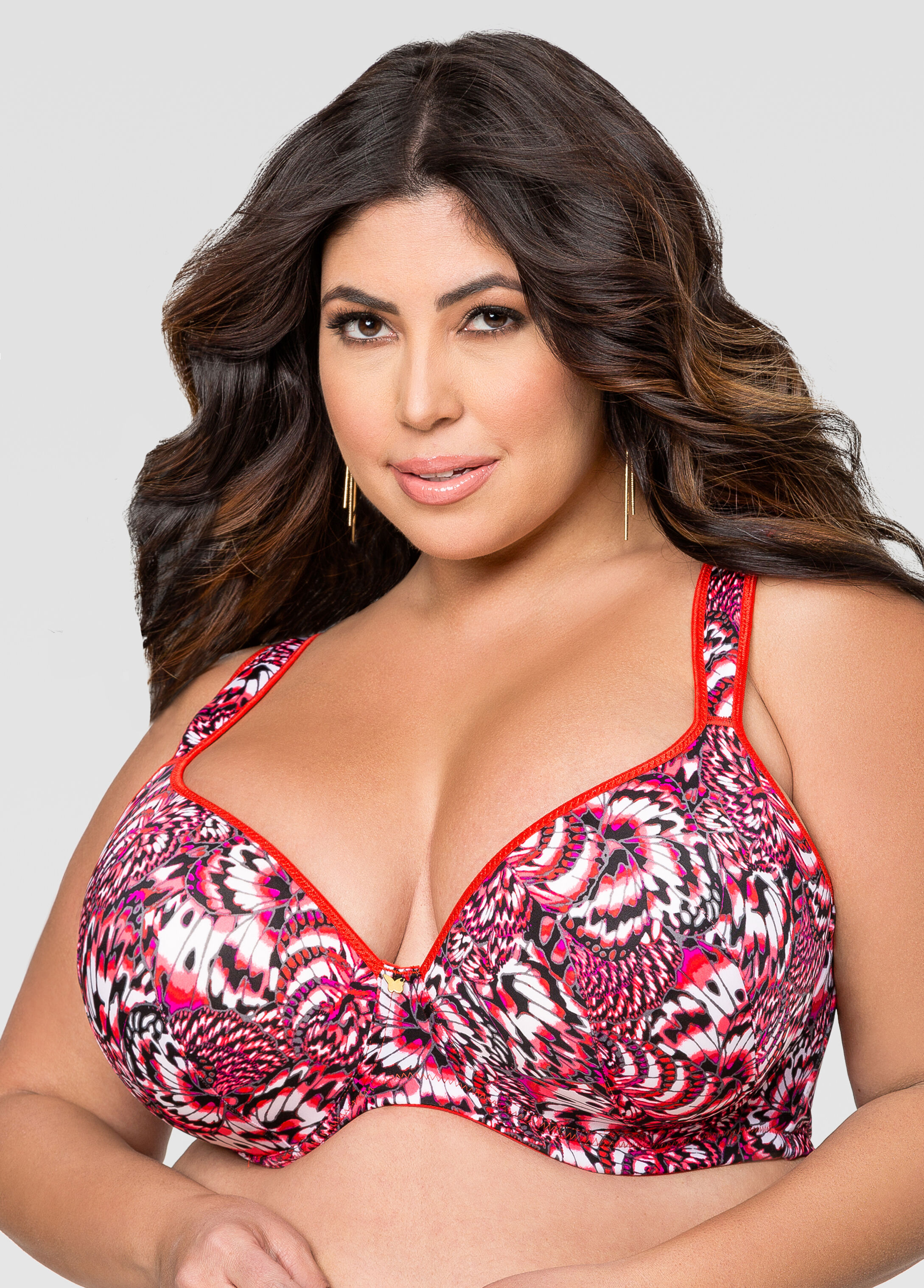 Extended Sizes! Printed Plunge Butterfly Bra-Plus Size Bras-Ashley ...