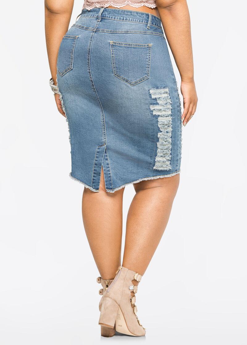 ripped jean pencil skirt plus size 034 pa3222