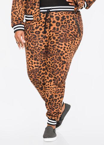 Slant Zip Leopard Jogger