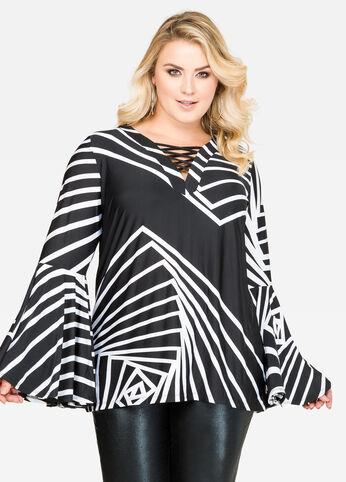 Bold Stripe Flare Sleeve Top