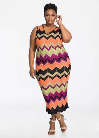 Pointelle Chevron Midi Dress