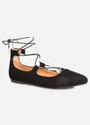 Lace-Up Velvet Ballet Flat - Wide Width