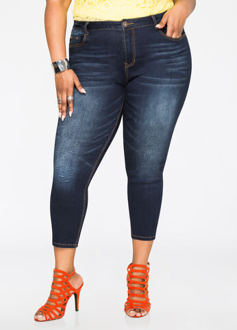 Whiskered Ankle Jean Indigo - Jeans
