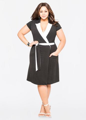 Contrast Collar Coat Dress Black White - Dresses
