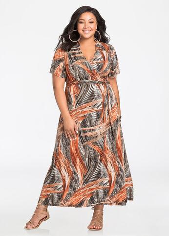 Collared Abstract Print Maxi Dress